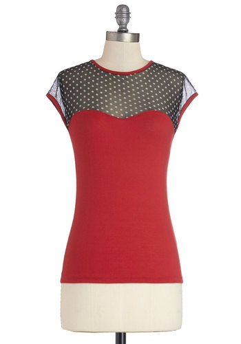 The Answer is Sheer Top in Red and Black - Mid-length, Jersey, Sheer, Knit, Mixed Media, Red, Solid, Girls Night Out, Valentine's, Darling, Good, Red, Short Sleeve, Cap Sleeves, Variation