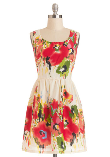 Paint It the Truth? Dress - Multi, Floral, Casual, A-line, Sleeveless, Good, Scoop, Cotton, Woven, Spring, Sundress, Mid-length
