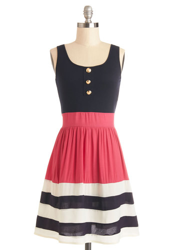 Schooner Said Than Done Dress in Pink - Blue, Pink, Stripes, Buttons, Casual, Nautical, A-line, Tank top (2 thick straps), Good, Scoop, Knit, Woven, White, Variation, Top Rated, Americana, Mid-length