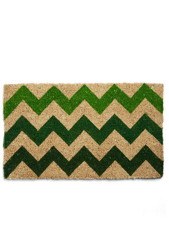 Greens and Salutations Doormat - Green, Chevron, Better, Tan / Cream, Summer, Spring