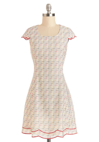 Geometry Guru Dress - Multi, Print, Scallops, Trim, Casual, Shift, Cap Sleeves, Better, Scoop, Woven, Mid-length, Embroidery