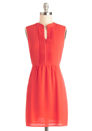 Sipping Punch Dress in Coral - Solid, Buttons, Pleats, Pockets, Casual, Valentine's, A-line, Sleeveless, Better, V Neck, Woven, Short, Coral, Spring