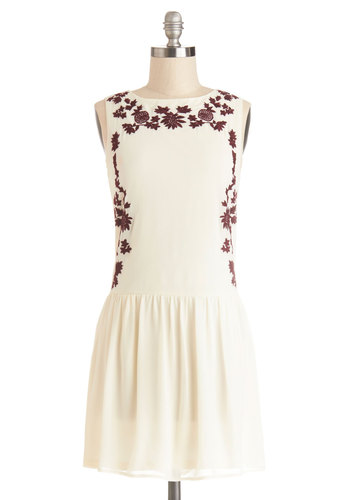 Japanese Maple Dress - Woven, Short, Cream, Solid, Embroidery, Casual, Festival, Drop Waist, Sleeveless, Good, Crew, Red