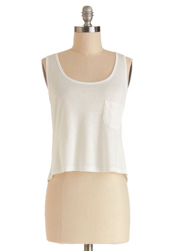 Ready, Set, Flow Top in White - Jersey, Knit, Short, White, Solid, Pockets, Casual, Cropped, Summer, Good, White, Sleeveless, Tank top (2 thick straps), Variation, Scoop, Beach/Resort, Festival, Spring, Boho