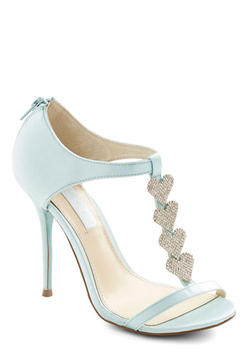 Betsey Johnson Luxe of Love Heel in Turquoise by Betsey Johnson - High, Satin, Woven, Mixed Media, Blue, Solid, Rhinestones, Special Occasion, Prom, Wedding, Party, Luxe, Best, Pastel, Variation