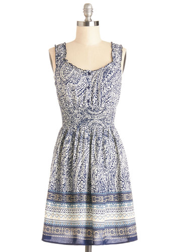 Meander to the Music Dress - Woven, Mid-length, Blue, White, Print, Buttons, Casual, A-line, Tank top (2 thick straps), Good, Scoop, Boho, Sundress