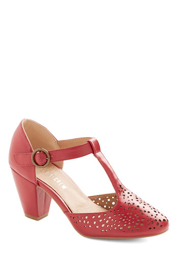 Putting on the Spritz Heel in Cherry by Chelsea Crew - Mid, Faux Leather, Red, Solid, Cutout, Wedding, Party, Valentine's, Vintage Inspired, 40s, Better, T-Strap, Variation, Fruits