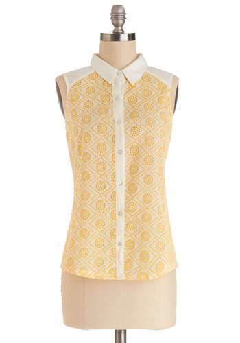 Outdoor Outing Top - Jersey, Sheer, Knit, Woven, Mid-length, Yellow, White, Buttons, Crochet, Work, Sleeveless, Collared, Yellow, Sleeveless, Beach/Resort