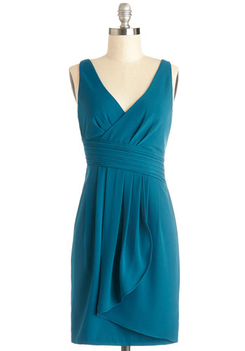 Banquet on It Dress - Chiffon, Woven, Mid-length, Blue, Solid, Prom, Wedding, Party, Bridesmaid, A-line, Tank top (2 thick straps), Better, V Neck, Pleats, Cocktail, Top Rated