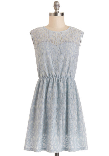 Birthday Date Dress - Blue, Lace, Wedding, Bridesmaid, A-line, Sleeveless, Good, Sheer, Knit, Short, Pastel, Spring, Lace, Party