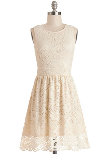 Breakfast in Brussels Dress - Sheer, Knit, Lace, Mid-length, Cream, Solid, Bride, A-line, Sleeveless, Good, Scoop, Daytime Party, Wedding, Graduation