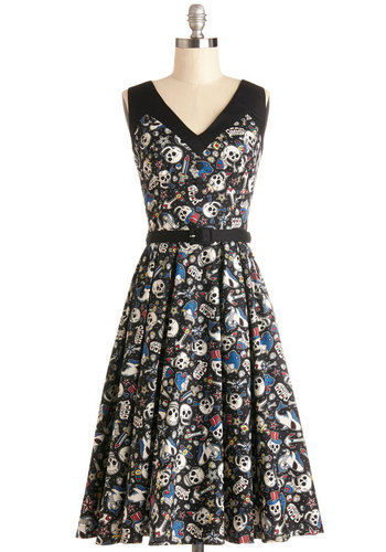 Shake, Punk Rock, and Roll Dress - Long, Cotton, Woven, Black, Multi, Buttons, Belted, Casual, Skulls, A-line, Sleeveless, Better, V Neck, Novelty Print, Rockabilly, Variation