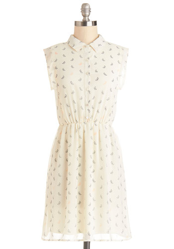 Butterfly Away for the Weekend Dress - Chiffon, Woven, Sheer, Mid-length, Cream, Print with Animals, Casual, Critters, Shirt Dress, Sleeveless, Good, Collared, Buttons, Spring