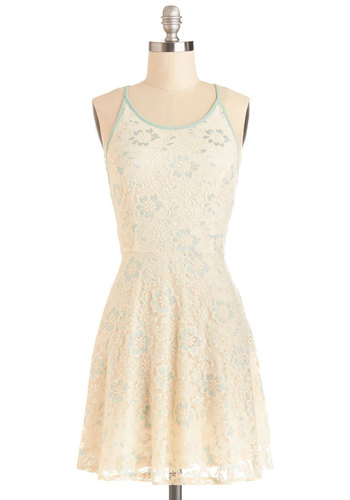 Brave Baker Dress - Sheer, Knit, Short, Cream, Mint, Floral, Lace, Trim, Casual, A-line, Spaghetti Straps, Good, Scoop, Lace, Sundress, Spring, Summer