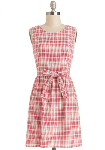 Barbeque Charmer Dress - Red, White, Checkered / Gingham, Buttons, Cutout, Casual, Festival, A-line, Sleeveless, Good, Scoop, Woven, Cotton, Short, Belted, Summer, Spring