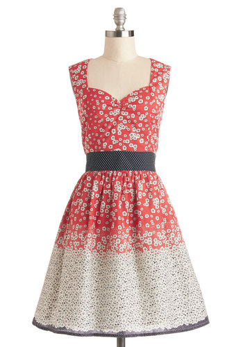 Dance Flora Dress - Red, Grey, White, Polka Dots, Floral, Daytime Party, Vintage Inspired, Sleeveless, Better, Sweetheart, Cotton, Woven, Mid-length, Pockets, A-line, Sundress