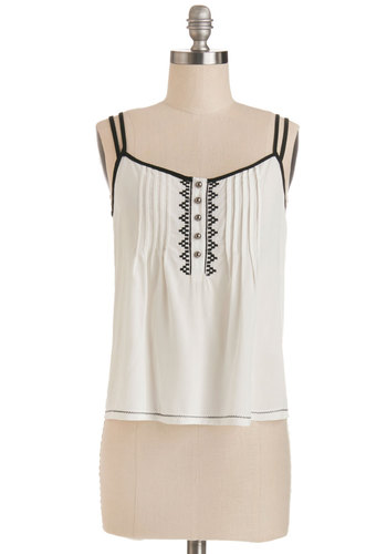 Saturday Street Fair Top - Sheer, Woven, Short, White, Solid, Good, White, Sleeveless, Black, Buttons, Embroidery, Spaghetti Straps, Festival, Boho