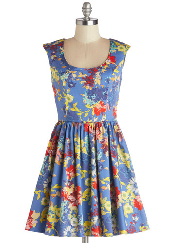 Next Stop, Sacramento Dress - Multi, Floral, Casual, A-line, Good, Scoop, Woven, Short, Blue, Cap Sleeves, Spring, Sundress, Social Placements, Show On Featured Sale