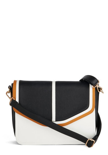 Don't Know Until You Tri Bag - Tan / Cream, Black, Solid, Colorblocking, Faux Leather, Better, Black, White, Multi, White, Work