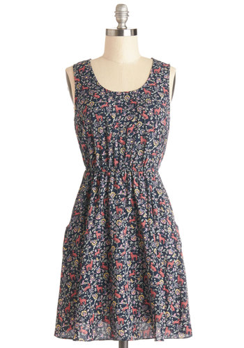 Fable Manners Dress - Mid-length, Woven, Multi, Casual, A-line, Sleeveless, Good, Scoop, Print with Animals, Pockets