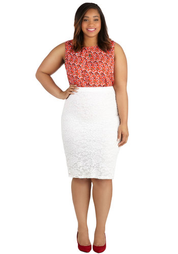 Impressionist Exhibit Skirt in Ivory - Plus Size - White, Good, Scoop, Sheer, Knit, Solid, Lace, Work, Cocktail, Pencil, Variation, Lace