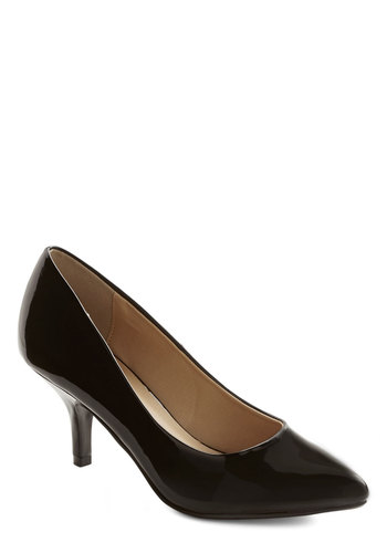 Posh and Polished Heel - Mid, Faux Leather, Black, Solid, Prom, Party, Cocktail, Girls Night Out, Minimal, Good, Basic