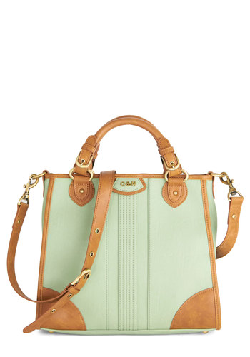 Working Wonderful Bag by Ollie & Nic - Mint, Tan / Cream, Solid, Work, Pastel, Colorblocking, Better, International Designer, Faux Leather, Spring, Green