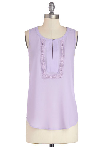 Laughing in Lavender Top - Knit, Mid-length, Purple, Solid, Crochet, Daytime Party, Vintage Inspired, 70s, Pastel, Sleeveless, Spring, Summer, Purple, Sleeveless, Better, Casual, Scoop, Good