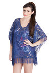 Seaside Lounging Cover-Up in Blue - Sheer, Knit, Lace, Blue, Solid, Fringed, Daytime Party, Beach/Resort, Lace, Summer, Variation, Festival, Boho, Cover-up
