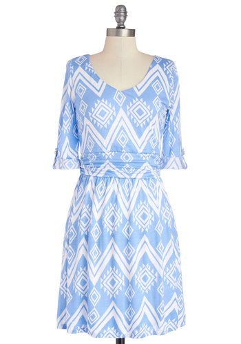 Tell Your Tale Dress - Mid-length, Jersey, Knit, Blue, White, Print, Ruching, A-line, 3/4 Sleeve, Good, Casual, Scoop, Spring, Summer