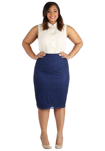 Impressionist Exhibit Skirt in Navy - Plus Size - Knit, Woven, Blue, Solid, Lace, Work, Cocktail, Pencil, Variation, Lace