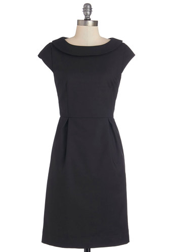 Conference Confidence Dress by Myrtlewood - Woven, Mid-length, Black, Solid, Pockets, Work, Shift, Cap Sleeves, Better, Exclusives, Private Label, LBD, Top Rated, Full-Size Run