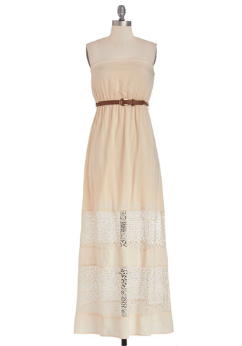 Sand Artist Dress - Cream, Lace, Belted, Casual, Boho, Maxi, Strapless, Good, Knit, Woven, Long, Sheer, Lace, Festival, Summer