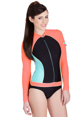 Sure Look Swell One Piece - Knit, Orange, Blue, Black, Solid, Trim, Beach/Resort, Exposed zipper, Pockets, Long Sleeve, Summer