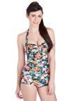 Be That as it Bouquet One Piece by Seafolly - Knit, Multi, Floral, Ruching, Daytime Party, Beach/Resort, Rockabilly, Pinup, Vintage Inspired, 50s, 60s, Halter, Festival