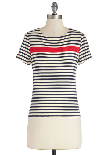 Biking to Breakfast Top - Knit, Mid-length, Multi, Blue, White, Stripes, Bows, Nautical, Short Sleeves, Spring, Summer, Multi, Short Sleeve, Red, Casual, Good
