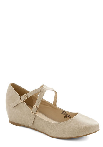 Crosswalk This Way Wedge in Taupe - Mid, Faux Leather, Solid, Good, Wedge, Strappy, Tan, Work