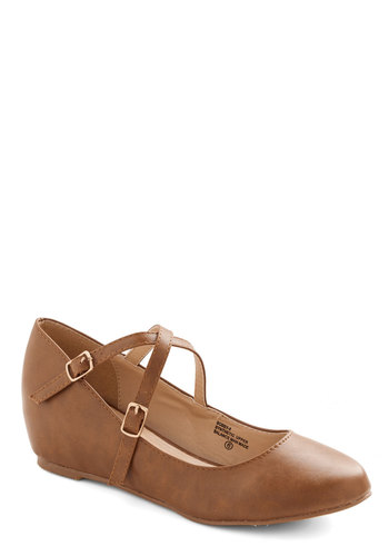 Crosswalk This Way Wedge in Tan - Mid, Faux Leather, Tan, Solid, Work, Daytime Party, Good, Wedge, Strappy, Variation