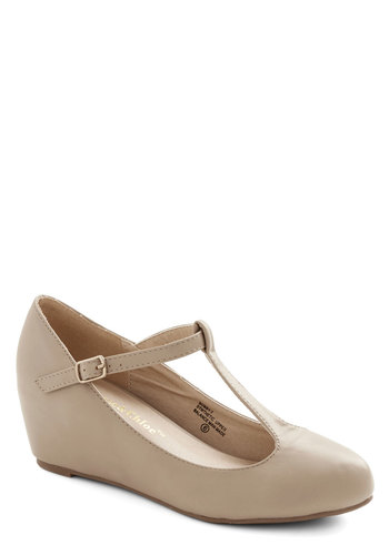 Haute Harmony Wedge in Beige - Mid, Faux Leather, Solid, Work, Daytime Party, Vintage Inspired, 40s, Good, Wedge, T-Strap, Tan