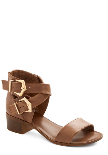 Pardon My French Sandal by Seychelles - Low, Leather, Solid, Buckles, Daytime Party, Best, Chunky heel, Strappy, Brown