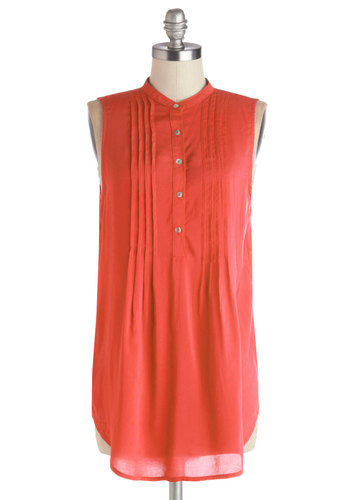 Vacay Adventure Top in Poppy - Woven, Long, Solid, Buttons, Sleeveless, Summer, Good, Orange, Sleeveless, Coral, Pleats, Casual, Variation, Beach/Resort