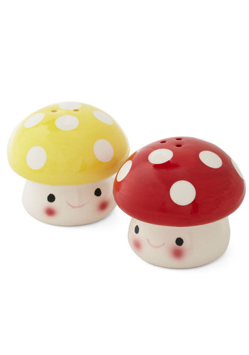 Truffle Shuffle Shaker Set by Streamline - Red, Yellow, Mushrooms, Best Seller, Best Seller, Mid-Century, Good, Top Rated