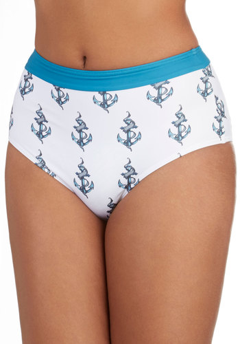 Anchor Values Swimsuit Bottom - White, Blue, Grey, Novelty Print, Beach/Resort, Nautical, Pinup, Vintage Inspired, 40s, 50s, 60s, High Waist, Summer, Exclusives