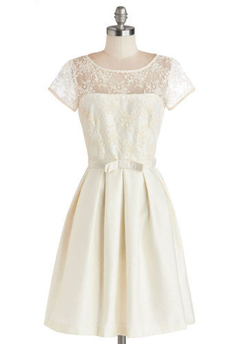 Finespun Florals Dress in Cream - White, Tan / Cream, Solid, Bows, Lace, Pleats, Bride, A-line, Short Sleeves, Better, Scoop, Pockets, Woven, Mid-length, Sheer, Wedding