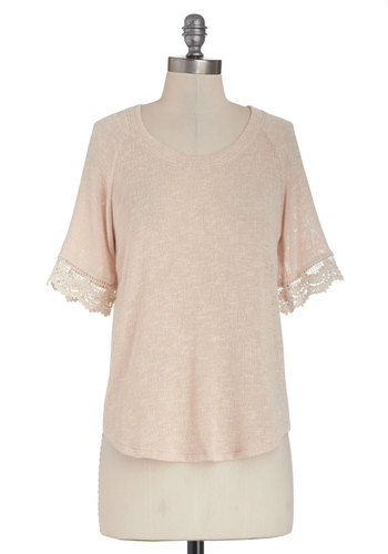 I Always Neutral Top - Better, Brown, Short Sleeve, Sheer, Knit, Mid-length, Cream, Solid, Crochet, Casual, Short Sleeves, Scoop