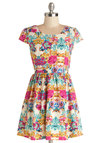 Pixelated Petals Dress - Woven, Short, Multi, Floral, Casual, A-line, Cap Sleeves, Better, Scoop, Spring