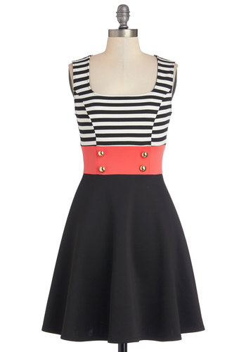Main Street Market Dress - Black, White, Coral, Stripes, Buttons, Casual, Military, Colorblocking, Sleeveless, Scoop, Mid-length