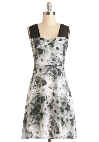 Vivid Imagery Dress by BB Dakota - Black, Grey, Floral, Party, A-line, Tank top (2 thick straps), Better, Sweetheart, Sheer, Spring, Mid-length, Woven