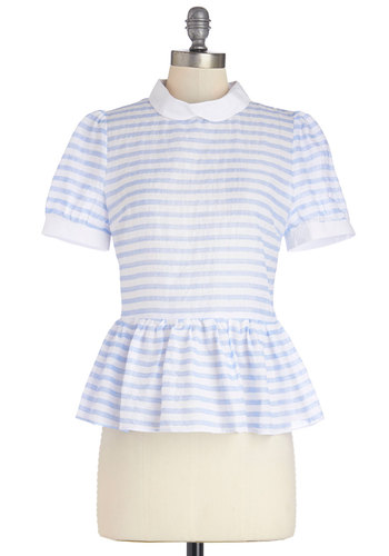 Lakeshore Photoshoot Top - Sheer, Woven, Mid-length, Multi, Blue, White, Stripes, Peter Pan Collar, Work, Vintage Inspired, Darling, Peplum, Short Sleeves, Spring, Collared, Multi, Short Sleeve, Pastel