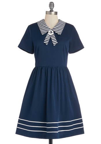 Fateful Timing Dress - Woven, Mid-length, Blue, White, Stripes, Casual, Nautical, A-line, Short Sleeves, Better, Collared, Solid, Pockets, Vintage Inspired